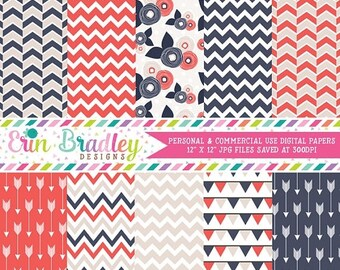 50% OFF SALE Summer Breeze Digital Paper Pack Arrows Chevron Bunting and Flower Patterns Commerical Use Instant Download