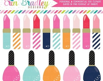 50% OFF SALE Lipstick and Nail Polish Clipart Girls Graphics Personal & Commercial Use Clip Art INSTANT Download