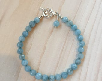 Faceted Blue Aquamarine Bracelet