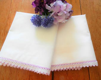 NOS Crocheted Trim Pillowcases, Lilac Pillowcases, Never Used Pillowcases, Lilac Crocheted Trim Pillowcases, Cotton Pillowcases