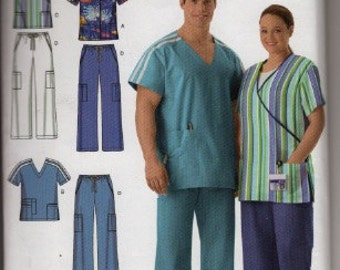 2006 Simplicity Easy to Sew 4101 women's and men's scrub tops and pants sewing pattern sizes s, m, l