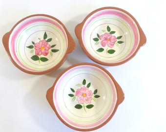 vintage stangl pottery wild rose soup bowls set of 3 with handles folk farmhouse cottage chic