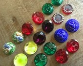 Nine Matched Pairs of Vintage Glass Cabs and Jewels Round and Ravishing Royal Promenade Assortment