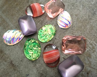 Vintage Glass Cabochons and Jewels Five Pairs 18x13mm Primrose Path Assortment