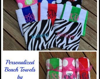 Monogrammed Beach Towel. Choose from Solids, Polka Dots, Cabana Stripes, Zebra, Leopard or Giraffe prints. LBC3060