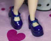 Blythe Royal Blue with subtle Glitter Platform Mary Jane Doll shoes