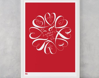 Endless Love Screen Print, Love Screen Print, Flower Wall Art, Flower Wall Decor, Love Wall Art, Nature Wall Poster, Love Wall Poster