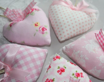 Set of Wedding Favours - Fabric Hearts - Bridal Shower Favors - Heart Doorhangers