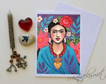 Frida with Flowers -  Frida Kahlo - 5x7 Art Card with Envelope