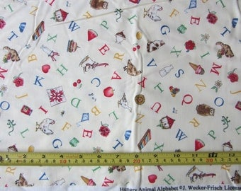 Hungry Animal Alphabet pattern fabric by J Wecker-Frischby SSI, small letters on cream background alphabet print fabric, cotton,sold by yard