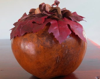 Apple Gourd with Red Leaves and Acorns  for Housewarming or Mother's day gift