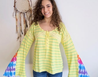 Sunshine Daydream Yellow Green Tie Dye Lace Crochet Bell Sleeve Hippie Top Shirt Upcycled Eco Friendly Tee OOAK Tshirt Size Large