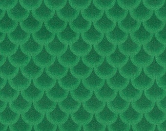 Green Fabric 100 percent cotton, Two green colors forming fish scales, Trees, Sold by the yd. 44 inches wide, Christmas design, Rain drops