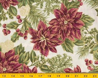 Christmas cotton fabric, Winter Garden for JoAnn's, 43 in. wide by 1 yard, Off white with Poinsettias, Berries, Leaves, Sold as one piece