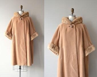 Bancroft mink trimmed coat | vintage 1960s wool coat | fur trimmed 60s coat