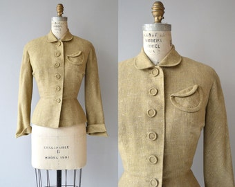Thomson wool jacket   vintage 1950s jacket   wool fitted 50s blazer