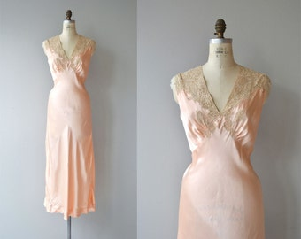Myrna silk nightgown | vintage 1930s silk nightgown | long silk 30s nightgown