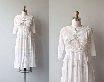 Shaded Veranda dress | antique Edwardian dress | white cotton 1910s dress