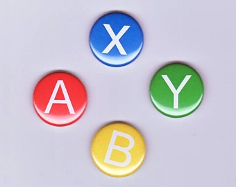 Super Nintendo Controller Inspired Set of 4 one inch buttons