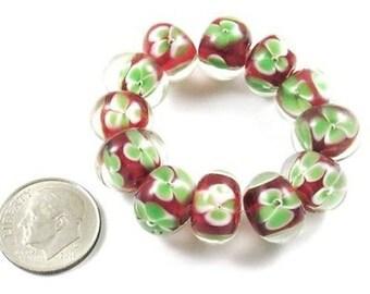 Rondelle Encased Lampwork Beads-RED + GREEN FLOWERS (12)