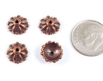 TierraCast Pewter Bead Caps-Antique Copper Dharma 10mm (4)
