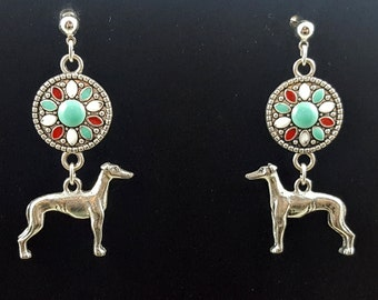 Southwest look Greyhound Galgo or Whippet Earrings