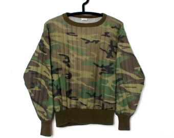 SICK Vintage Quilted Nylon WOODLAND CAMOUFLAGE Puffer Sweatshirt size M Made in U.S.A.