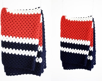 Vintage Crochet Yarn Red White and Blue USA Granny Retro Afghan Throw Blanket
