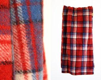 Wal-Co Sport Wear All Wool Red Plaid Large Heavy Wool Retro Blanket