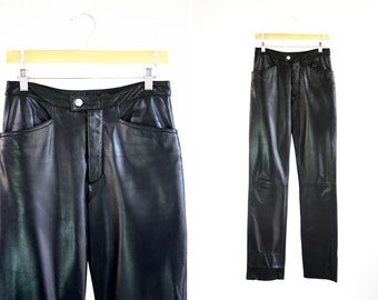 Vintage Wilson's Leather Maxima 5 Pocket 90's Woman's Black Leather Retro Pants