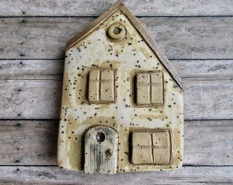 House with Sloped Roof , House plaque, wall hanging, wall plaque, house themed, Home is Where the Heart Is, tracee, unique clay creations