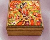 Indian classical dance painting, Bharatanatyam, Goddess dancer, Indian woman dancer, Indian woman art jewelry box, 3.5x3.5+