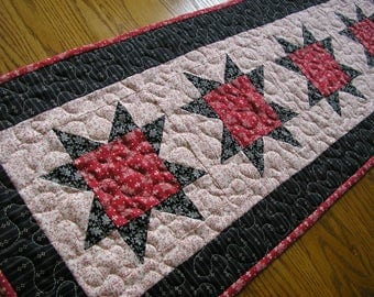 Quilted Table Runner, Red and Black Stars, 14 1/2 x 39 1/2