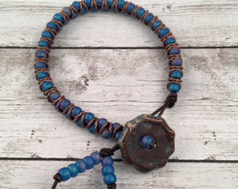 Zig Zag Beaded Leather Friendship Bracelet - Blue Mermaid Color - Layering Bracelet - Leather Beaded Bracelet - Gift for Her - BlueDKAU