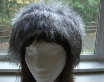 Women's Faux Fur HEADBAND, Fur Headwrap, Ear Warmer, Head Warmer, Canadian Fox Stone Fur Headband