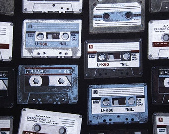 Those Were The Days of Cassette Tapes - Cotton Fabric - Half Yard