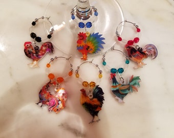 Rooster Chicken Farm Wine Charms WITH POUCH