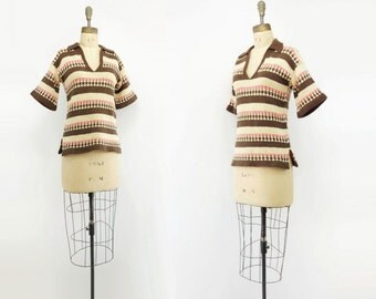 Short Sleeve Sweater 70s Striped Sweater 70s Vintage Sweater Bell Sleeve Sweater 1970s Wool Sweater 70s Boho Sweater Pink Brown Stripe s