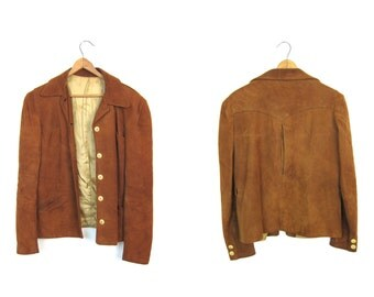 Brown Suede Riding Jacket Supple Nubuck Leather Coat Button Up Cowgirl Jacket Bohemian Hippie Vintage 60s 70s Coat Womens Small