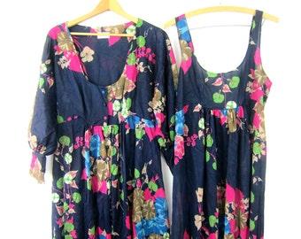 70s Slip Dress & Robe Vintage Long Sexy Floral lingerie Nightgown Nightie Sleepwear Gown Resort Lounge Wear Women's Large
