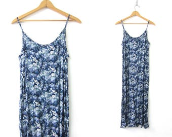 90s floral grunge dress Long slip dress Blue Rayon BOHO vintage sundress womens maxi revival Beach dress Sleeveless Size Medium Large