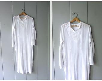 Thin White Cotton Gauze Caftan Sheer Cotton Swimsuit Cover Summer Hooded Shirt Dress Minimal Kaftan Embroidered Dress Women Medium Large DEL