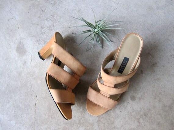 Strappy Leather High Heel Pumps Minimal Peep Toe Band Strap Sandals Suede Tan Nude Slip On Sandals Modern Vintage 90s Pumps DELLS Size 6