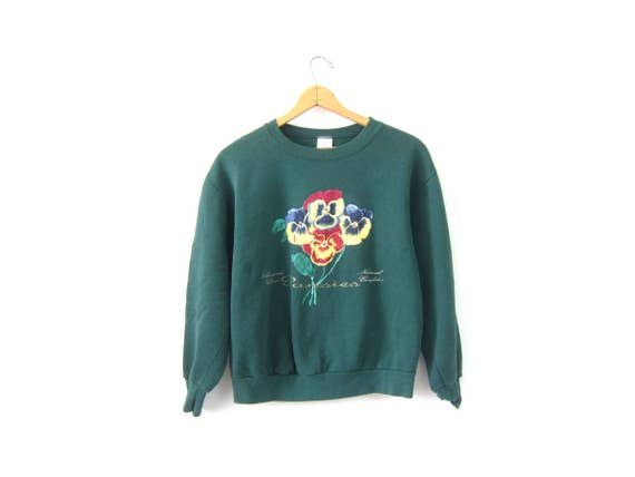 Green Pansies Sweatshirt Small Fit Pullover 1990s Painted Flowers Novelty Sweater Hipster DES Preppy Top Size Medium Large