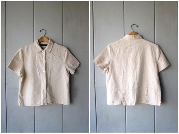 Natural Linen Cotton Blouse Cropped Minimal Top Button Up Short Sleeve BOXY Tee Beige Oatmeal 90s Top Modern Basic Top Vintage Womens Medium
