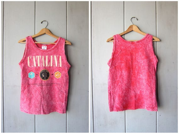 Vintage 80s CATALINA Tank Top Pink Pigment Dyed Beach Sporty Top Athletic Summer Tee Acid Wash Tank Top Grunge Boho DES Womens Small