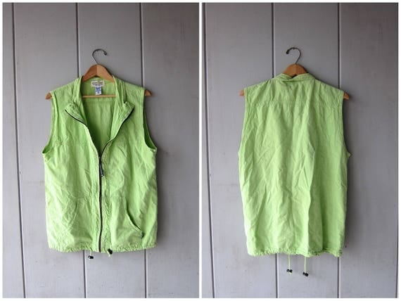 Neon Green Zip Up Vest Shirt Jacket 90s EZZE WEAR Sporty Top Slouchy Hipster Athletic Sleeveless Jacket Hip Hop Outdoors Coat Mens Small