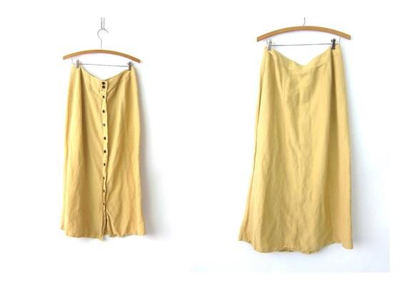 Vintage Natural Linen Rayon Skirt Long Minimal Midi Skirt Modern Sandy Yellow Midi Skirt Button Down Front Skirt Womens 12 Medium Large