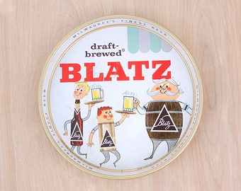 Blatz Beer Vintage Tin Tray 1959 Draft-Brewed Milwaukee's Finest Home Decor Collectible Advertisement