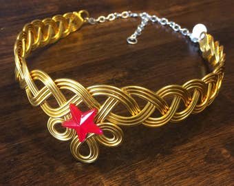 AMAZON PRINCESS Circlet Hand Wire Wrapped - Wonder Woman Crown Tiara Celtic Braid Red Star
